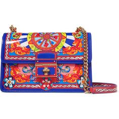 Dolce & Gabbana Rosalita printed patent-leather shoulder bag (£1,450) ❤ liked on Polyvore featuring bags, handbags, shoulder bags, blue, shoulder bag purse, dolce gabbana handbag, pocket purse, multi color purse and blue handbags