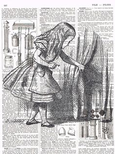 Alice in Wonderland.Antique French Book Page Prints,Retro, buy 3 get 1 free, deal, repurposed,eco,ooak.altered art.unique. $8.50, via Etsy.