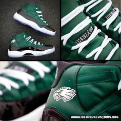 Green, white and black sneakers - Eagles
