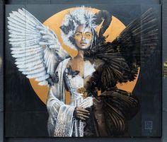 """Levetemho"" Berlin, Germany: new mural by Fin DAC for the ""Gaia Reborn"" exhibition curated by Beautiful Bizarre Magazine and Urban Nation Berlin. Installation Street Art, Murals Street Art, Graffiti Lettering, Graffiti Art, Blood Tattoo, Wolf Skull, Berlin Street, Sticker Bomb, Angels And Demons"