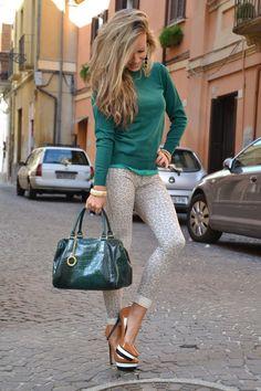 women fashion clothing style outfit green top leggings pants handbag heels brown earrings bracelet summer spring