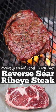This is a complete guide to teach you how to reverse sear a ribeye. This will be the best steak you have ever had! They turn out perfect every time. Pellet Grill Recipes, Grilling Recipes, Meat Recipes, Traeger Recipes, Sushi Recipes, Grilled Steak Recipes, Grilled Meat, Reverse Sear Steak, Smoking Recipes