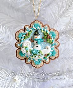 Handcrafted Polymer Clay Christmas Snowman Scene Ornament More