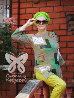 Crochet Summer Sweater open cold shoulder Lace Top with sleeve Boho Blouse Hand Crochet granny squar Moda Crochet, Crochet Ripple, Freeform Crochet, Crochet Cardigan, Irish Crochet, Knit Crochet, Crochet Summer, Crochet Granny, Hand Crochet