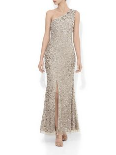 Coco Beaded One Shoulder Gown – Montique Mother Of The Bride Looks, High Tea Dress, One Shoulder Gown, Full Length Gowns, Halter Gown, Beaded Gown, Fit And Flare, Sequins, Glamour