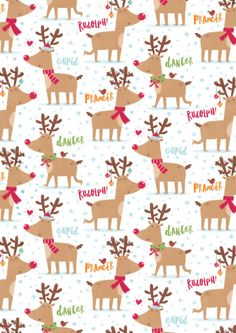 Cute Reindeer  iphone wallpaper....Gareth Williams - Reindeer Pattern