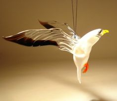 """Blown Glass Figurine """"Murano"""" Art Hanging Bird SEAGULL Ornament  -  nature, wildlife, outdoors.  this seller has some nice figurines, ornaments, etc., but the colors seem more washed out than the russian ones.        lj"""