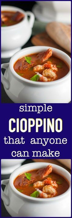 Simple Cioppino that anyone can make. Cioppino is a fabulous fish stew that originated in San Francisco and it featured in top restaurants. Here is a simple way to make it at home, using whatever seaf Fish Recipes, Seafood Recipes, Paleo Recipes, Soup Recipes, Dinner Recipes, Cooking Recipes, Cooking Ideas, Food Ideas, Crockpot Recipes
