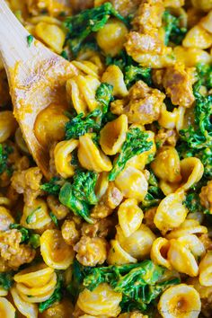 This pumpkin mascarpone orecchiette with spicy sausage and broccolini will satisfy everyone at your table! It is so creamy and the perfect seasonal dinner!