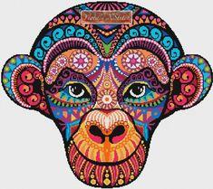 Rainbow tribal monkey abstract cross stitch kit | Yiotas XStitch