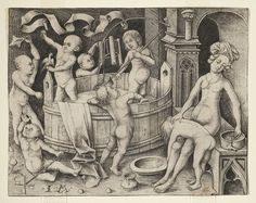 "Print, ""The Children's Bath"", before 1500  Engraved by Israhel van Meckenem  National Design Museum"