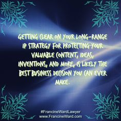 Investing in an initial conversation with a legal expert before you venture into using or creating intellectual property can save you valuable time, energy, and money. And I encourage to consult with a competent lawyer who understands this area of law.  #FrancineWardLawyer #AuthorshipTips #CopyrightOwner