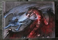 Incredible Inheritance artwork by Polina Andreeva (@PolinaaLorien) - Saphira and Thorn