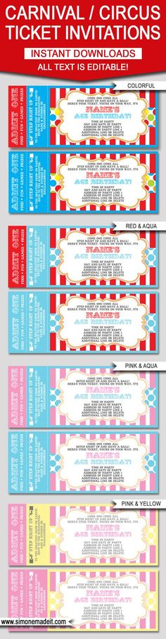 Printable Chalkboard Circus Ticket Baby Shower Invitation Red