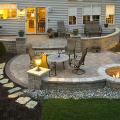patio and fire pit area for the back yard