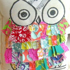 Owl pillow stuffed owl fabric scrap owl pillow by tracyBdesigns