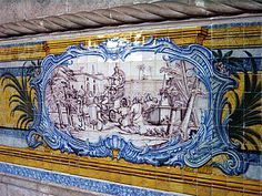 detail from one of the azulejo murals in the Monasterio de los Jeronimos, Lisbon