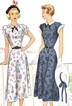 1940s Dress Pattern Flared Skirt Day or Evening by paneenjerez, $30.00