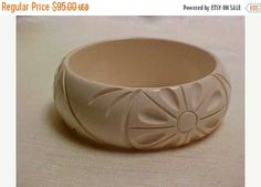 Bangle Bracelets, Bangles, Off White Color, Vintage Items, Etsy, Rings, Floral, Flowers, Jewelry