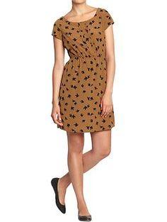 Women's Printed Pintuck-Crepe Dress (Brown Print). Old Navy. $32.94