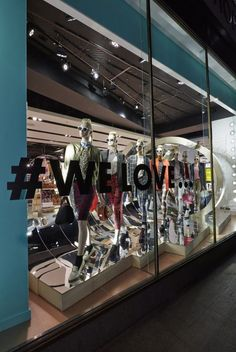 #welove Topshop Oxfords Circus wave window, the sculptural wave is constructed from birch ply with a mirror internal surface.