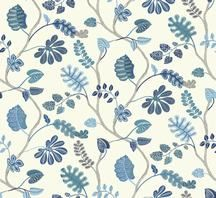 Waverly Small Prints Blue and White Leaf Branch Trail Wallpaper. Pattern Number: WP2402