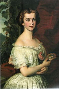 "Portrait of a young Kaiserin Elisabeth of Austria aka ""Sissi"". She s holding a miniature of her (then) fiance, Franz Josef I"