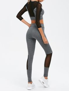 $21.02 for Mesh Spliced Skinny Sport Suit GRAY: Gym Sets | ZAFUL