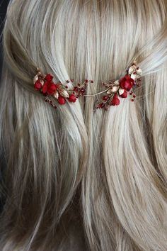 Forbidden Fruit_Red and gold wedding headpiece 5 Cute Jewelry, Hair Jewelry, Bridal Jewelry, Headpiece Wedding, Bridal Headpieces, Wedding Veils, Bridal Hair, Wedding Hair Accessories, Fashion Accessories