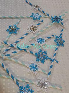 Frozen Party 20 Paper Straws 3D Snowflake by BakinMeCrazy on Etsy