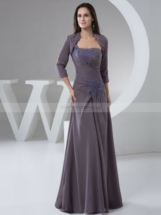 Two Piece Pleated Mother of the Bride Dress with Applique