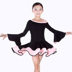 Pas cher enfants costume de danse latine salsa tango rumba cha cha ballroom dance robe enfant - Robe de danse de salon pas cher ...