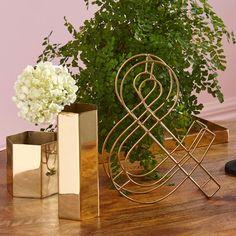 S/2 Brass Hexagon Vases - Me and My Trend
