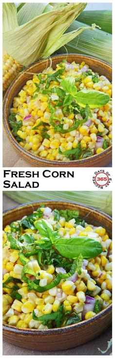 This fresh corn salad with red onion and basil is perfect for a BBQ or potluck dinner