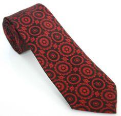 VINTAGE SKINNY TIE 52L Black Metallic Red / Burgundy Woven Necktie
