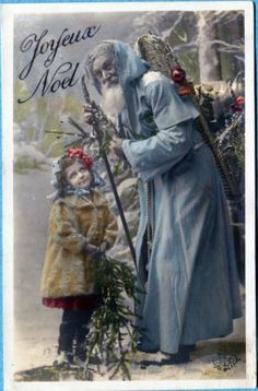 X6204 St Nicholas postcard, Hand tinted blue Santa with girl and tree, ELD used