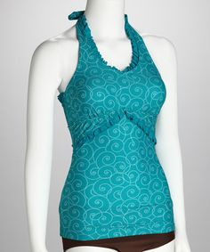 Another great find on #zulily! Turquoise Swirl Ruffle Halter Tankini Top - Women #zulilyfinds