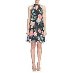 Cece Floral Halter Dress ($129) ❤ liked on Polyvore featuring dresses, black, halter-neck tops, floral printed dress, floral cut out dress, halter top and cut-out dresses