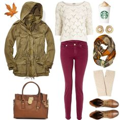 Cozy and casual outfit for fall - anorak jacket, knit top, burgundy skinnies, plaid scarf, leather bag and combat boots