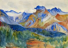 "GIOVANNI GIACOMETTI  (1868-1933) -  ""In view of the Piz Lunghin, 1905"""