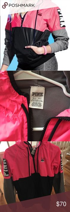 Grey/Pink anarak/windbreaker Quarter zip, warm, waterproof! PINK Victoria's Secret Jackets & Coats