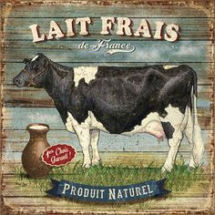 """Lait Frais"" Dairy Cow Milk /Vintage Sign in French"