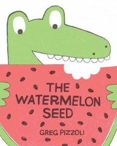 After swallowing a watermelon seed, a crocodile imagines a scary outcome. Written and illustrated by Greg Pizzoli.