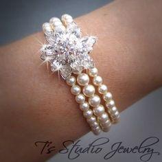 7c39de3c1a26 3-Strand Ivory Pearl Bridal Bracelet with Rhinestone Crystal Flower - White  or Ivory Pearl Wedding Jewelry