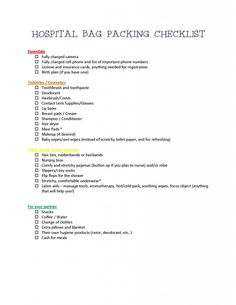 HOSPITAL BAG PACKING CHECKLIST - delivery and labor. Also need to bring sibling gift. Hospital Checklist, Pregnancy Checklist, Packing Checklist, Sibling Gifts, Pregnancy Journal, Baby Blessing, Apartment Plans, Pregnancy Health, How To Have Twins