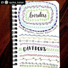 """798 Likes, 2 Comments - Apsi's visual notes & doodles (@therevisionguide) on Instagram: """"#Repost @ayoka_kaiser with @repostapp ・・・ A quick dive into borders and dividers before I head to…"""""""