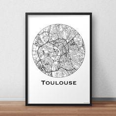 Affiche Carte Toulouse Minimalist Map - City map, Poster de ville, Décoration murale, Plan de ville, Impression d'Art