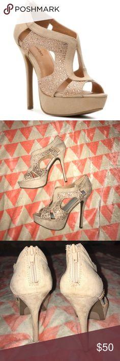 "NWOT Zigi Soho nude heels Zigisoho ""silvy"" style platform nude heels - size 8.5. Never been worn! Beautiful sequin detail and back zipper for added comfort. New ""foot petals"" added to each shoe, so comfortable! Closet must have! Zigi Soho Shoes Heels"
