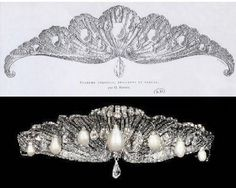The Mellerio Shell Tiara takes its name, unsurprisingly, from its shape which is a wave with hanging pearls. It originally had a diamond drop feature hanging in the centre but Queen Sophia hasn't worn it this way in years. Made by jewellers Mello e Mellerio in 1867