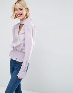 ASOS Cotton Top with Exaggerated Sleeve and Shirred Waist - White